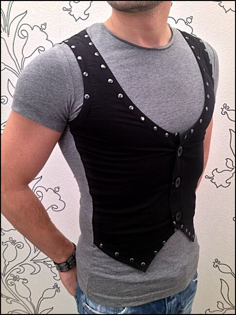 Exclusive Hammer Awesome Young&rich Party Clubwear T-Shirt with Rivets Vest