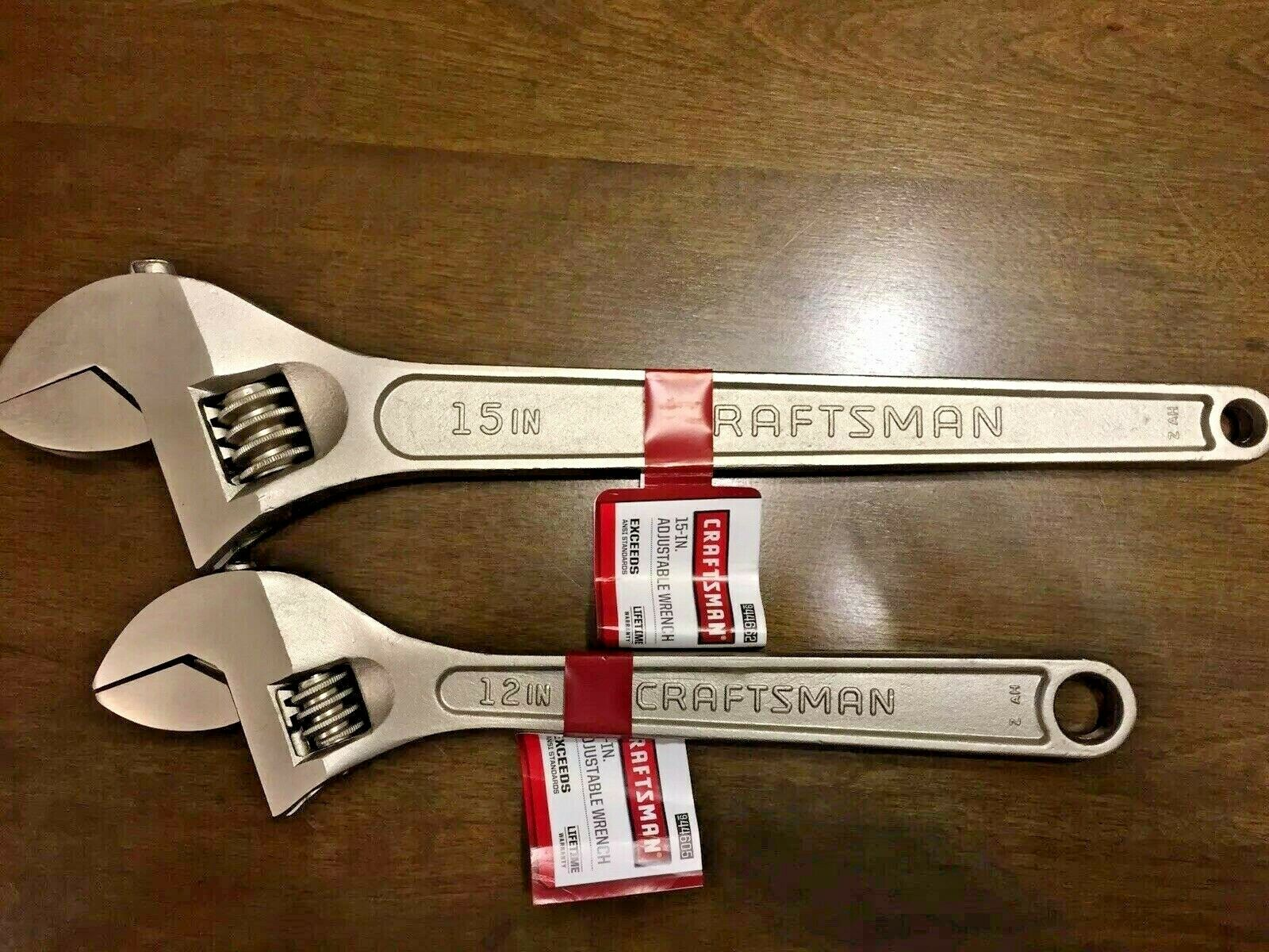 CRAFTSMAN 12  and 15  ALLOY STEEL ADJUSTABLE WRENCH (2 PC SET)