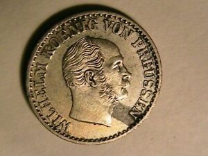 1869-C-Prussia-Germany-1-Silber-Groschen-Original-AU-BU-Wilhelm-Silver-Coin