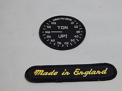 TRIUMPH PATCH TON UP MADE IN ENGLAND SET CAFE RACER 650 750 SCRAMBLER ACE T120