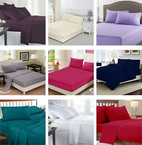 Luxe-Poly-Coton-Drap-Plat-Drap-Simple-Double-King-Super-King-Size