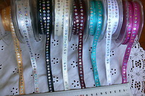 Satin-Ribbon-with-Sequins-Centre-9mm-wide-1-3-amp-4-Metres-7-Colour-Choice-GT-AL5