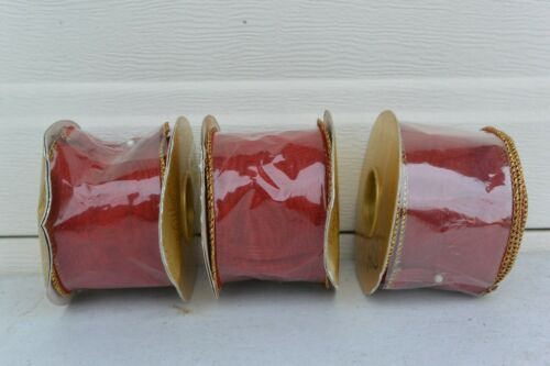 "RED TWINKLE Farris silk 2/""x 10 yards LOT OF 3 ROLLS of Ribbon WIRED"