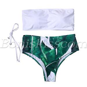 2pcs-Women-039-s-High-Waisted-Bikini-Set-Removable-Strap-Swimsuit-Padded-Swimwear