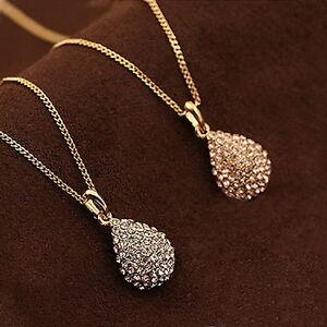 Silver-Gold-Fashion-Jewelry-Pendant-Chain-Crystal-Choker-Statement-Bib-Necklace