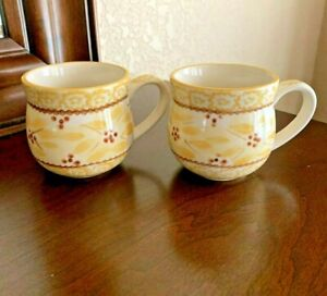 Pair of 2 TEMPTATIONS BY TARA Old World Yellow Floral 12 oz Coffee Cups Mugs