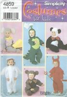 Simplicity 4859 Toddlers' Costumes 1/2, 1, 2, 3, 4 Sewing Pattern
