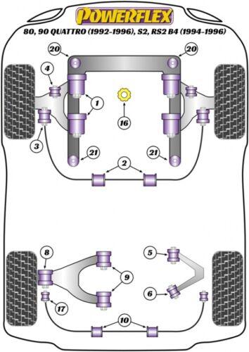 Set pu casquillos audi 80 90 s2 rs2 achsträger auxiliares marco almacén 10mm PowerFlex H