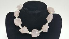 Langer 925 Silver Clasp Rose Quartz White Pearl String Necklace