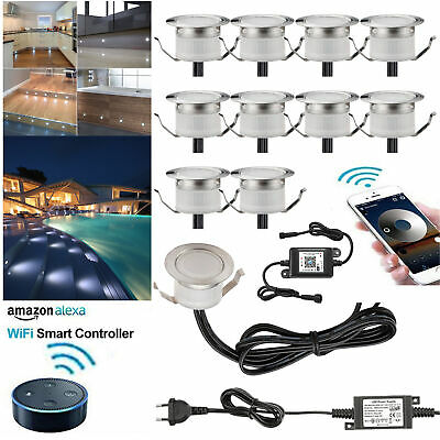 10X 12V 45mm WIFI APP RGBWW LED Terrasse Garten Einbaustrahler Beleuchtung Lampe