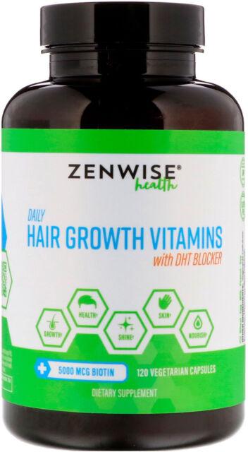 Zenwise Health Daily Hair Growth Vitamins With DHT Blocker 120 Vegetarian caps