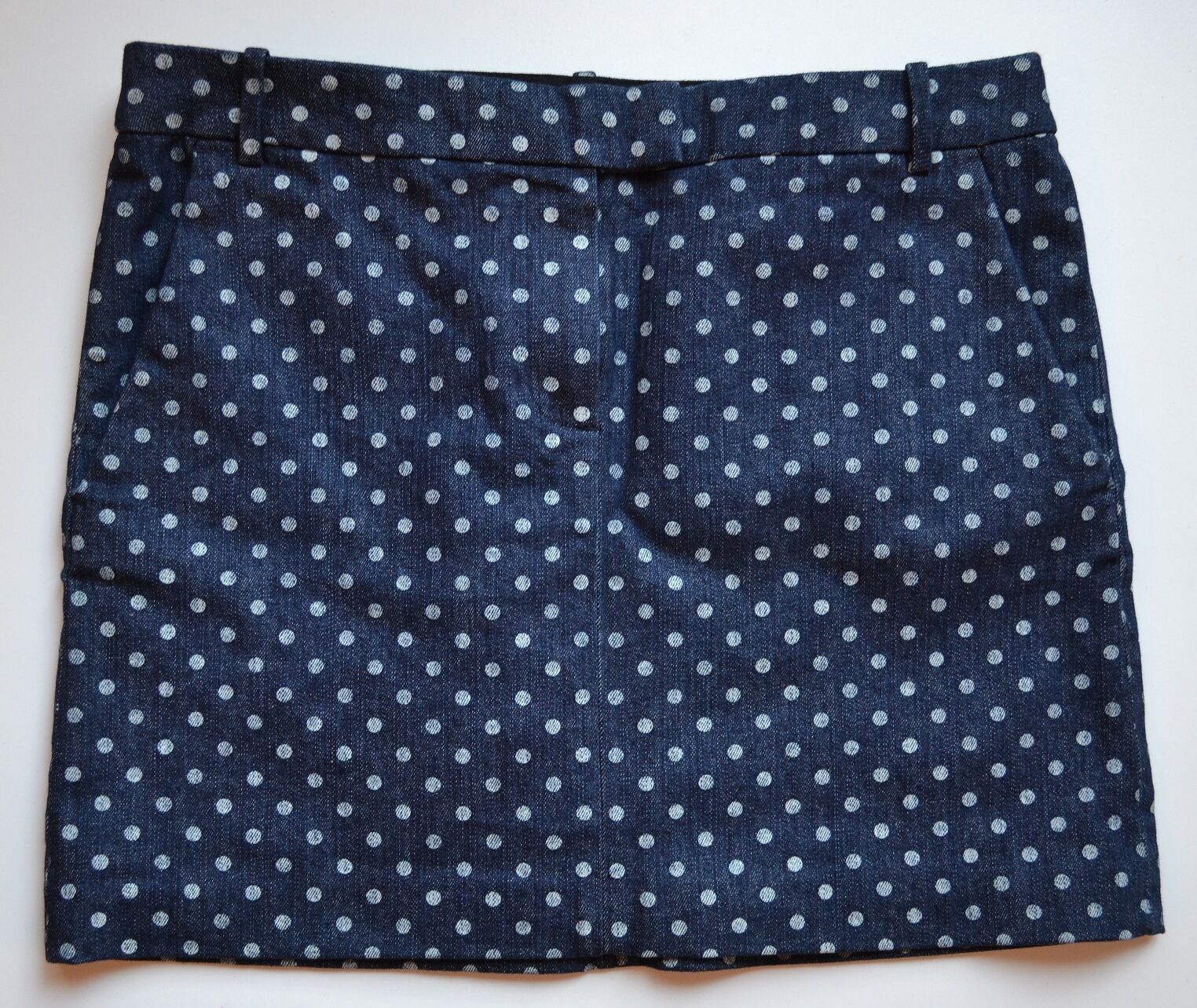 NWT J Crew Polka Dot Denim Mini Skirt Size 6