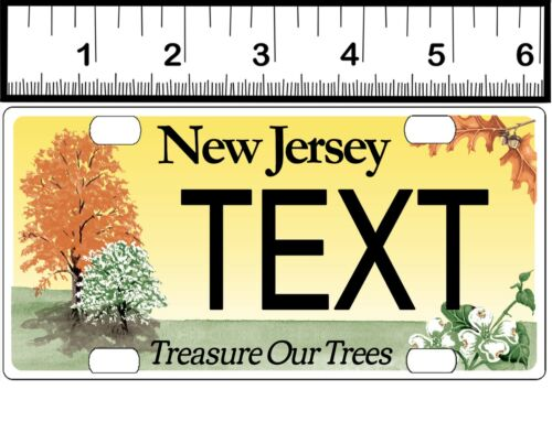 CUSTOM PERSONALIZED ALUM BICYCLE MINI STATE LICENSE PLATE-NJ TREASURE TREES