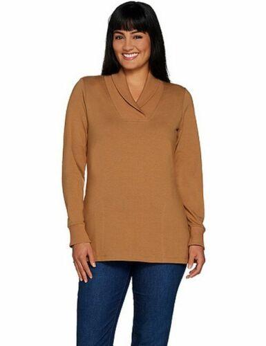 Denim /& Co Camel Tan French Terry L//S Shawl Collar Tunic Top Sweatshirt New