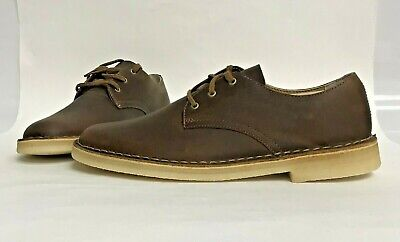 NIB MENS SIZE 9.5 CLARKS DESERT CROSBY LEATHER SHOES BEESWAX 33710