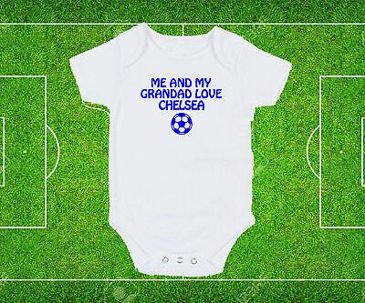 Brighton Dad Grandad Love Baby Grow Bodysuit White blue text football fan