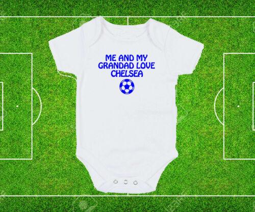 Chelsea Dad Grandad Love Baby Grow Bodysuit White Blue text football fan