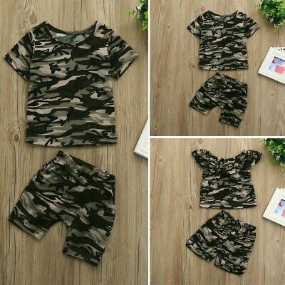 Toddler Kids Baby Boys Summer Outfit Camouflage T-shirt Tops+Pant Clothes Set LC