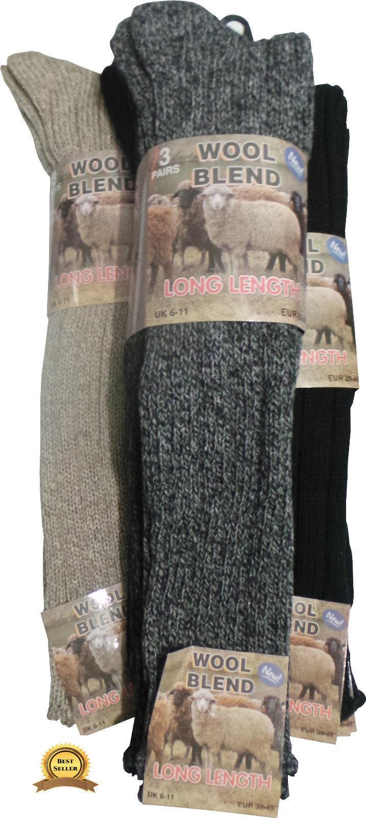 Douze marche 12 paire long laine épaisse thermique hiver chaud marche Douze randonnée ski boot chaussettes 70bd16