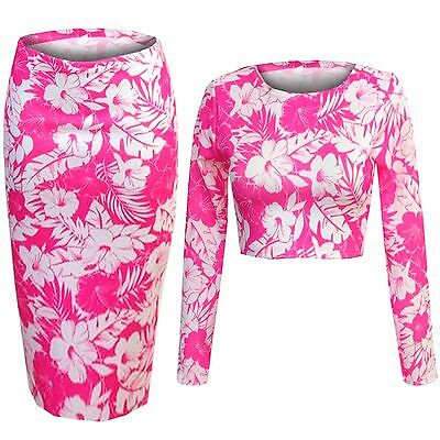 887e57da3 NEW LADIES PINK FLORAL PRINT CROP TOP PENCIL SKIRT SUIT WOMENS SET CELEB  LOOK | eBay