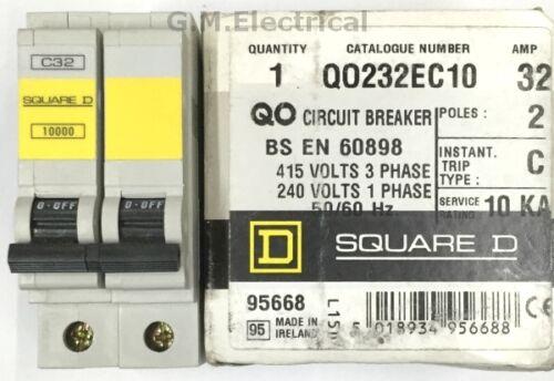 Square D qoe 32 Amp TYPE C 32 A disjoncteur Double Pôle 2 Phase Disjoncteur QO232EC10 10000