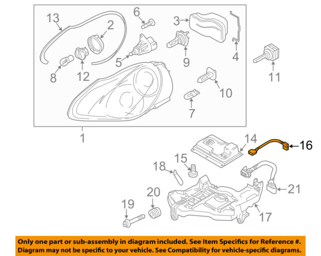 porsche oem 03-06 cayenne headlamp-front lamps-wire harness 95563123920