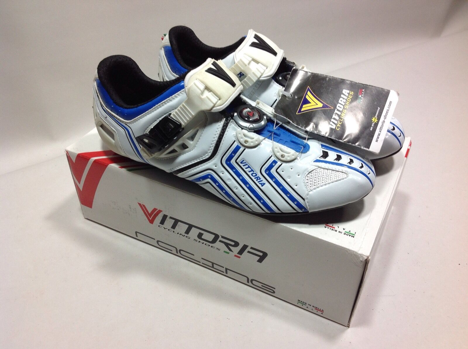 Vittoria Hora Road Cycling shoes 42 US white-bluee micrometric cable