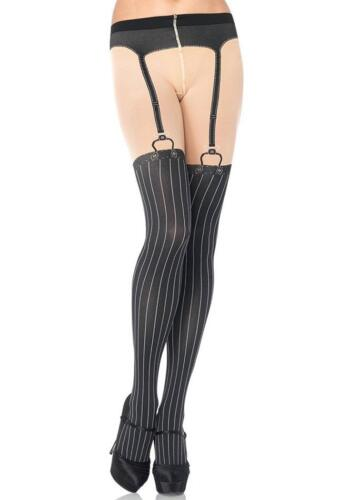 Spandex Opaque Woven Pinstripe Suspender Tights Gangster Adult Costume Accessory
