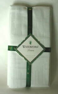 WATERFORD-Linens-Set-of-4-Cotton-Napkins-CLIFDEN-PEARL-White-NEW-NWT