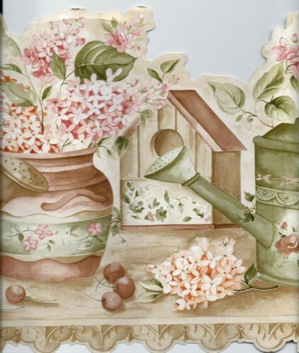 BIRDHOUSES BASKETS COUNTRY WATERING CANS FLOWERS WALLPAPER BORDER