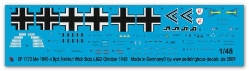 Peddinghaus  1//48 1772 Me 109E-4 Hpt Helmut Wick Stab 1//JG 2 Oktober 1940