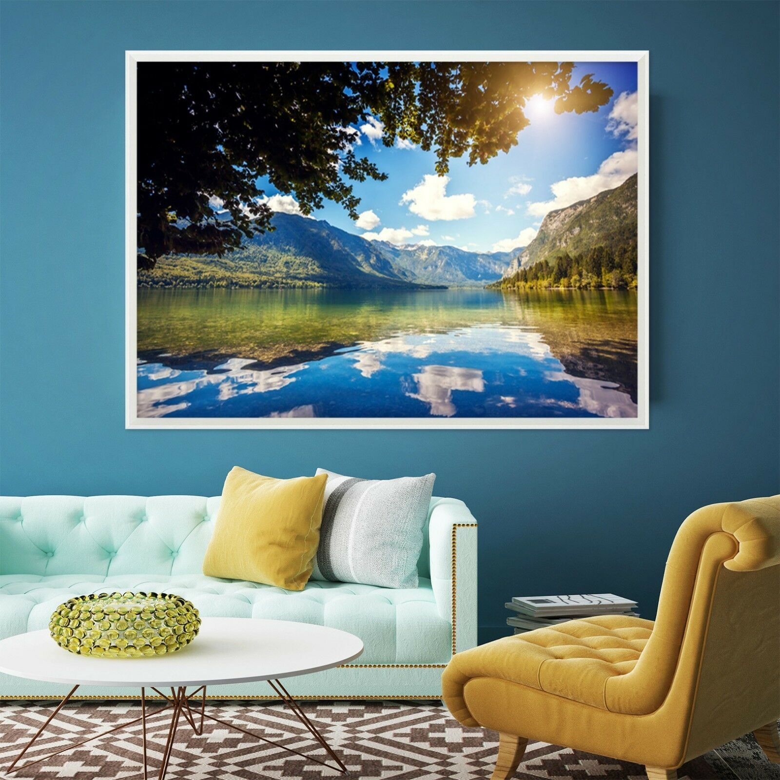 3D Clouds Mountain Sea 3 Framed Poster Home Decor Print Painting Art WALLPAPER