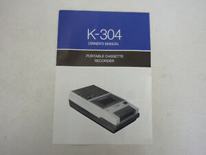Vintage-Imperial-K-304-Portable-Cassette-Recorder-Owners-Manual-manual-only