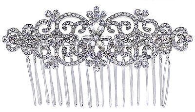 Abile Bellissimo Cristallo Stile Vintage Completa Capelli D'argento Da Sposa Pettine.- Per Farti Sentire A Tuo Agio Ed Energico