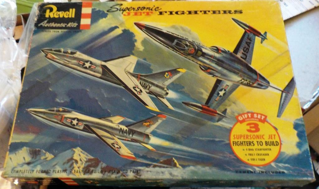 REVELL [1956] 3 SUPERSONIC JET FIGHTERS GIFT SET [F-104A F8U-1 F11F-1] w Cement