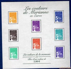 France-Bloc-N-44-Les-Couleurs-de-Marianne-en-Euros-2002-Neuf-Luxe