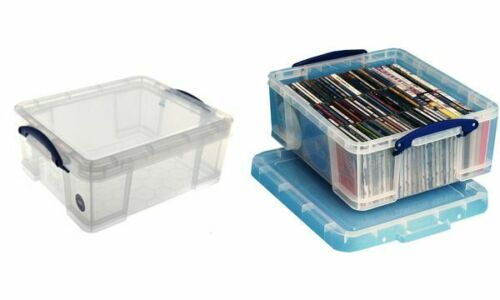 REALLY USEFUL BOX Aufbewahrungsbox transparent 18 l Stapelbox Ordnungsbox Büro