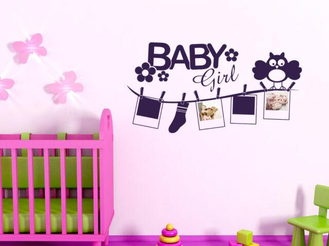 Wandtattoo Fotorahmen Bilderrahmen Baby Eule Deko für Kinderzimmer Mädchen