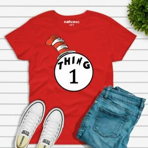 DR SEUSS CAT IN THE HAT THING 1 AND THING 2 T-SHIRT KIDS AND ADULT T ... 9935898c4