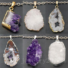 Natural Druzy Quartz Agate Amethyst Geode Gemstone Pendant Silver Gold Necklace