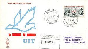 FDC Venetia - Italia 1965 - Unione telecomunicazioni - raccomandata VG - Roma - Italia - L'oggetto può essere restituito - Italia