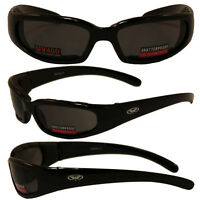 Motorcycle Riding Glasses 2 Pair Day & Night Padded Sunglasses Clear Smoke