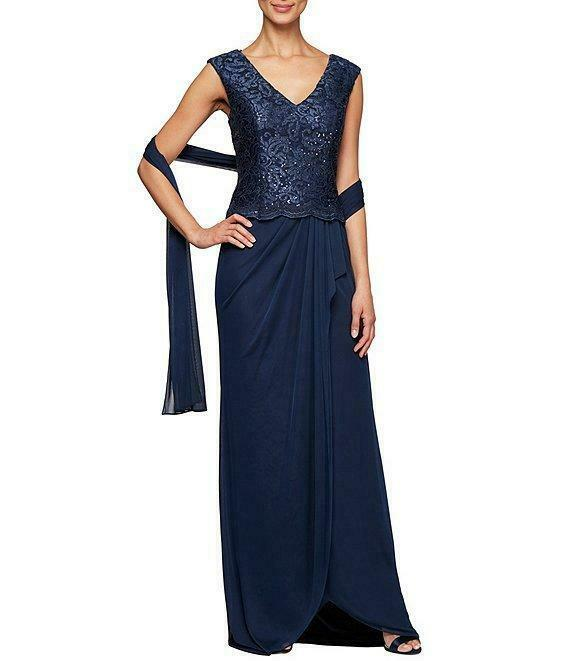 ALEX EVENINGS 12 Embroidered Bodice High-Low Gown w/ Shawl NWT