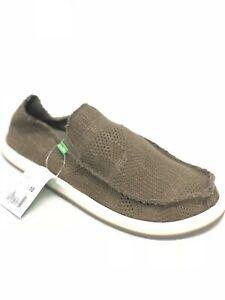 Sanuk-Homme-Yew-Tricot-Trottoir-Surfeurs-Slip-sur-Chaussures-Fonce-Olive-1019347