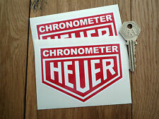 "Heuer CHRONOMETER Classic Rally & Racing Car Stickers 4"" Pair Sponsor Red White"