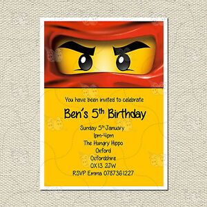 Personalised Lego Ninjago Childrens Kids Party Birthday Invites Inc