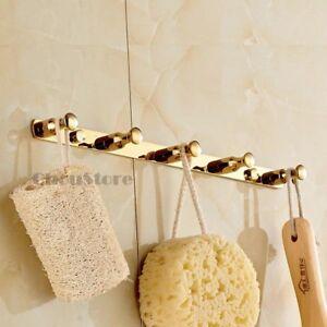 Solid-Brass-Gold-Wall-Mount-Robe-Hook-Cloth-Hanger-Door-Hooks-Rack-with-5-Hooks