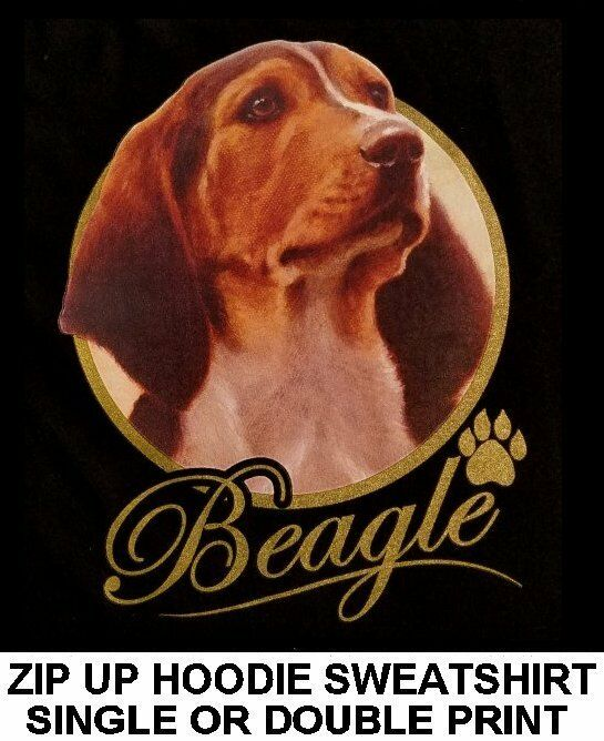 VERY CLASSY COOL BEAGLE DOG ART GOLD LETTERING ZIP HOODIE SWEATSHIRT WS713