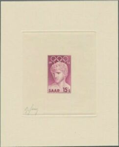 Saar-354-Artist-signed-die-proof-lilac-1956-Melbourne-Olympic-Games