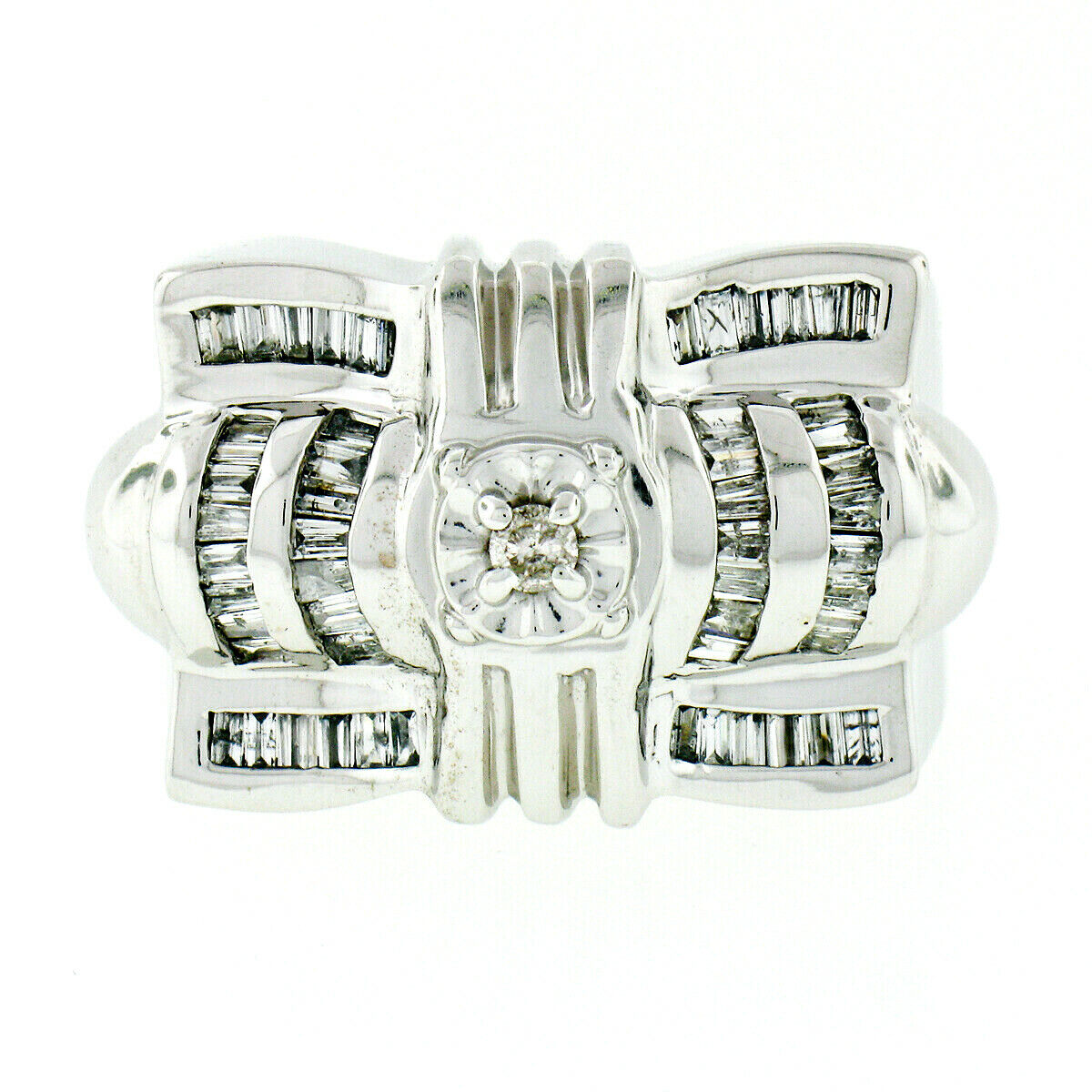 Stravaganti da Uomo 14k 14k 14k oro Bianco 1.14ctw rossoondo & Baguette Diamante Grande 863156